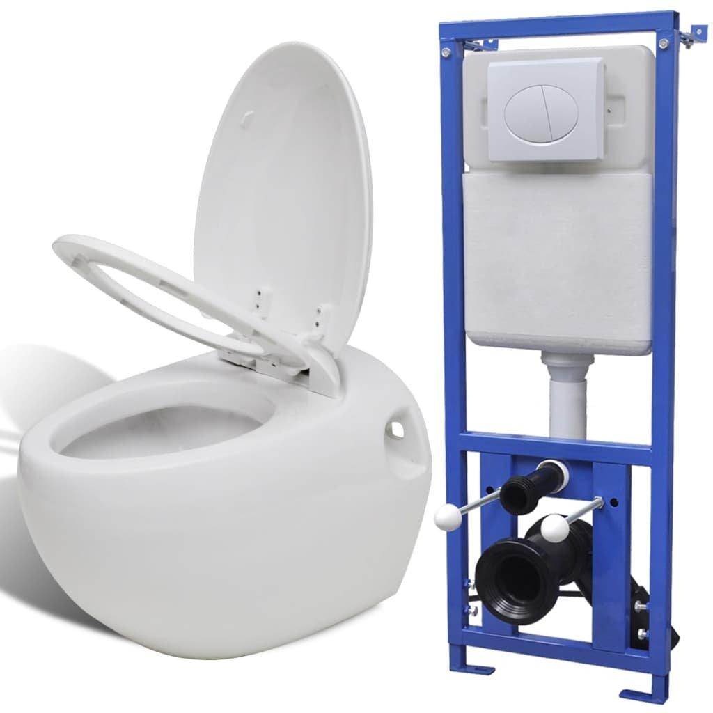 Závěsná toaleta vejčitého tvaru s podomítkovou nádržkou | bílá
