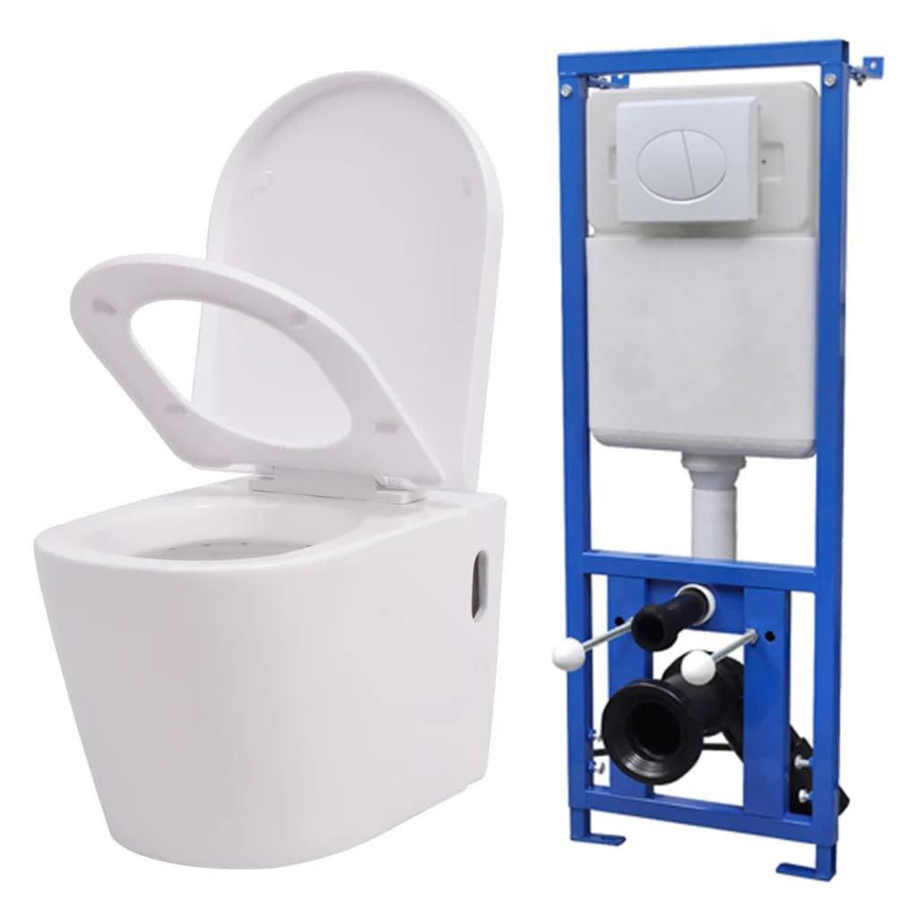 Závěsná toaleta s podomítkovou nádržkou - keramika | bílá