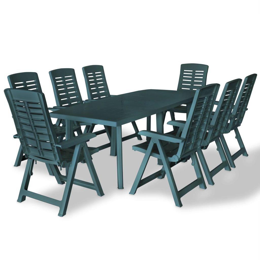 Zahradní jídelní nábytek 9 kusů - zelený | 210x96x72 cm