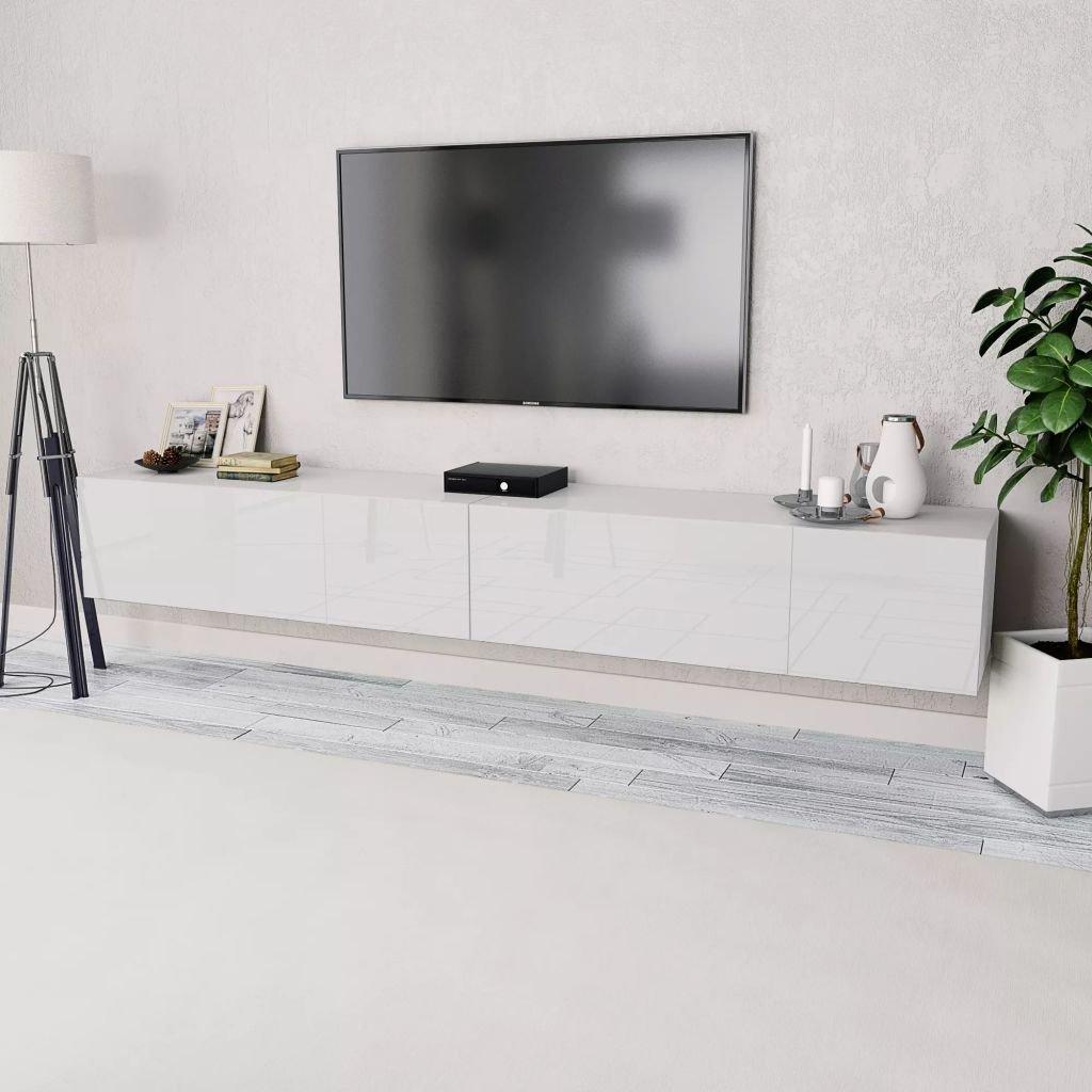 Stolek pod TV - 2 ks - dřevotříska -vysoký lesk - bílý   120x40x34 cm