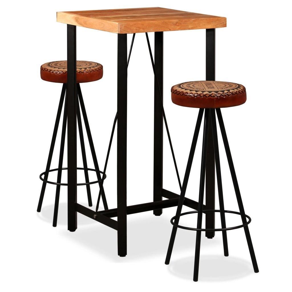 Barový set 3 kusy - plátno | masivní sheeshamové dřevo a pravá kůže