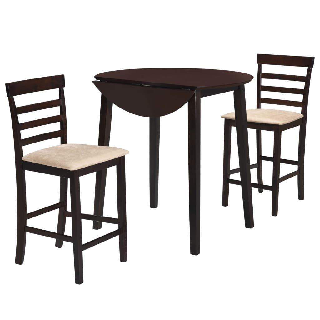 Barový stůl a židle sada 3 kusů - hnědá | masivní dřevo