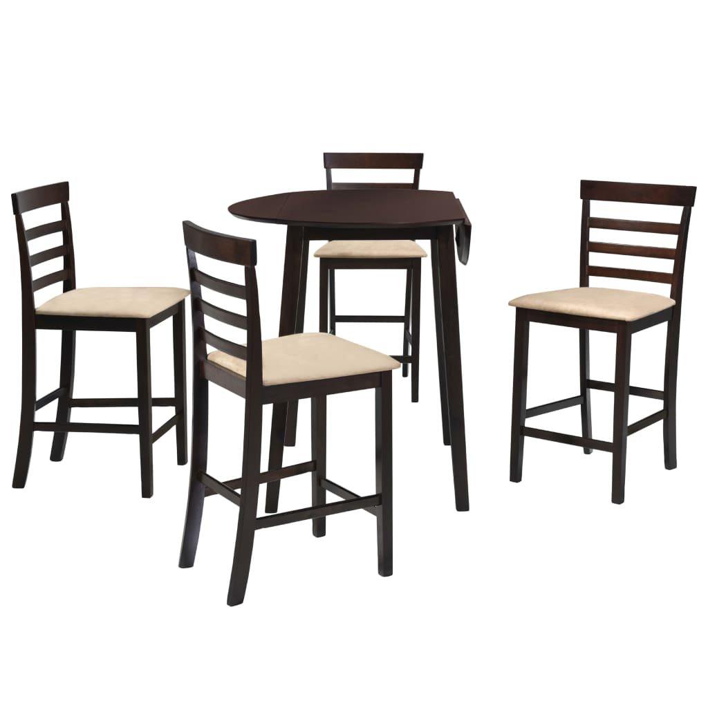 Barový stůl a židle sada 5 kusů - hnědá | masivní dřevo