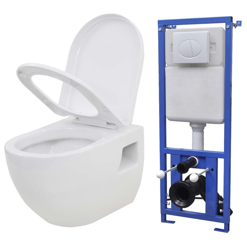 Závěsná toaleta s podomítkovou nádržkou - keramická | bílá