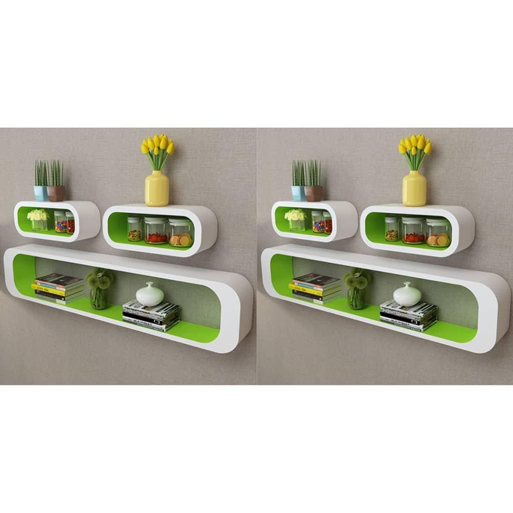 Nástěnné krychlové police 6 ks | zeleno-bílé
