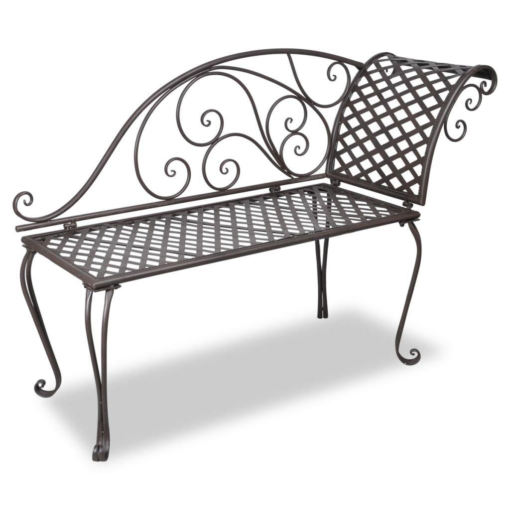 Zahradní lenoška - ocelová - starožitná - hnědá | 128 cm