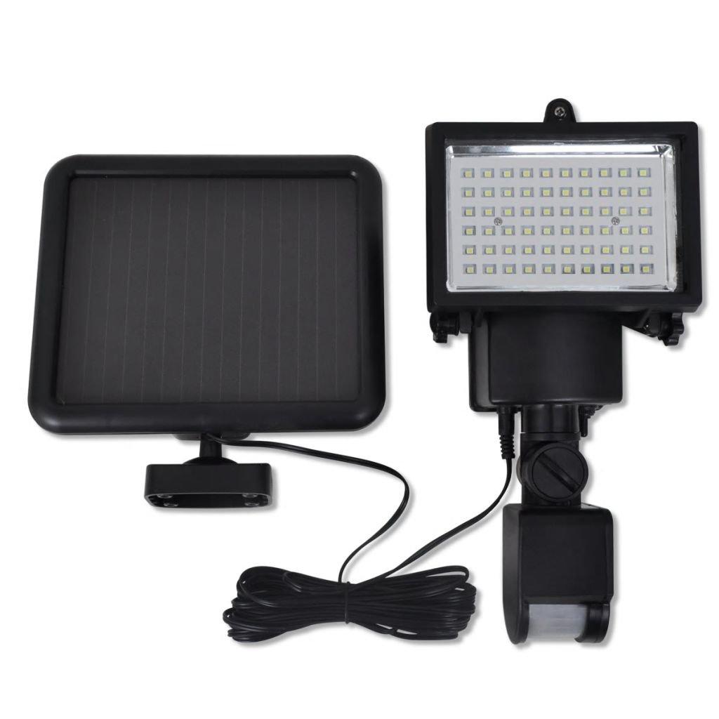 Zahradní solární LED reflektor s čidlem | černý