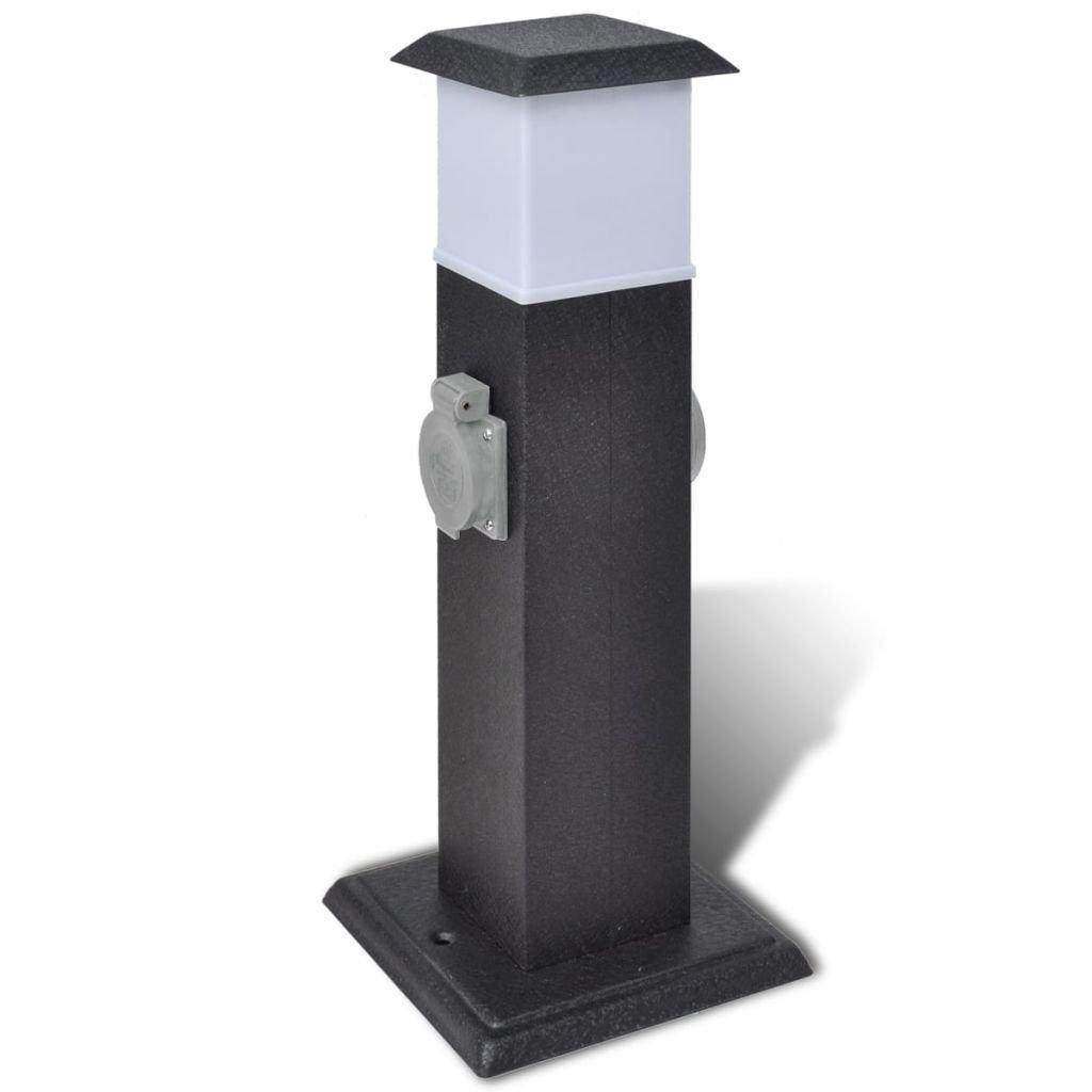 Zahradní elektrická zásuvka - sloupek s lampou | černý