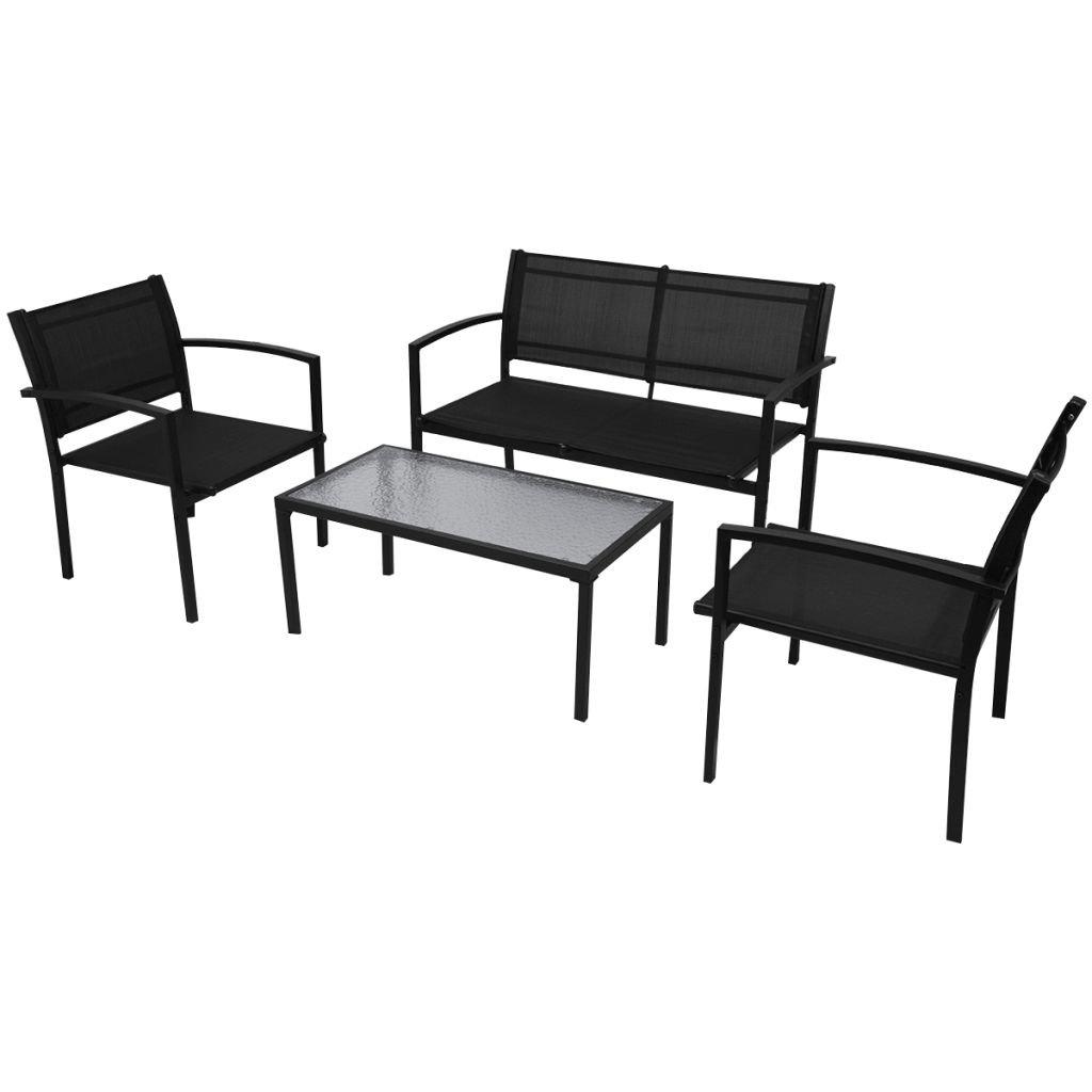 Zahradní sedací souprava Guilbeau - 4 ks - textilen | černá