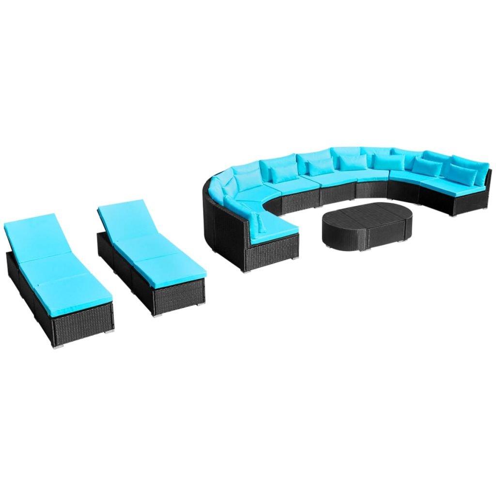 Zahradní sedací souprava s lehátky - polyratanová   modrá