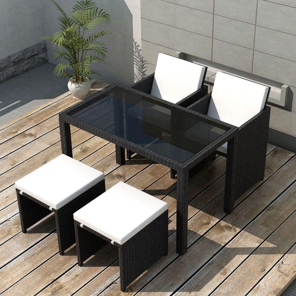 Zahradní jídelní set 11 ks - polyratan   černý