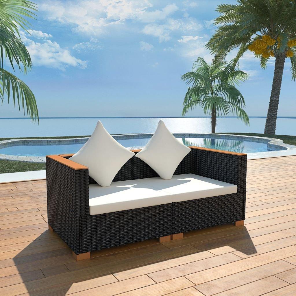 6dílná zahradní sedací souprava - černá | polyratan a WPC deska