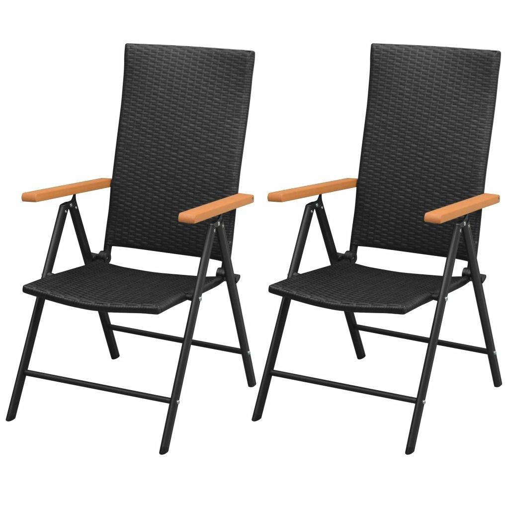 Stohovatelné zahradní židle - 2 ks - polyratan   černé