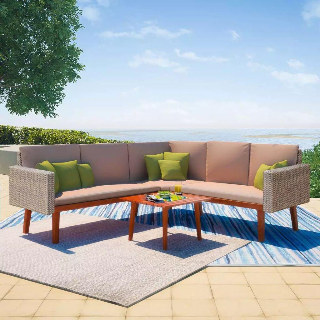 13-dílná zahradní sedací souprava | šedý polyratan