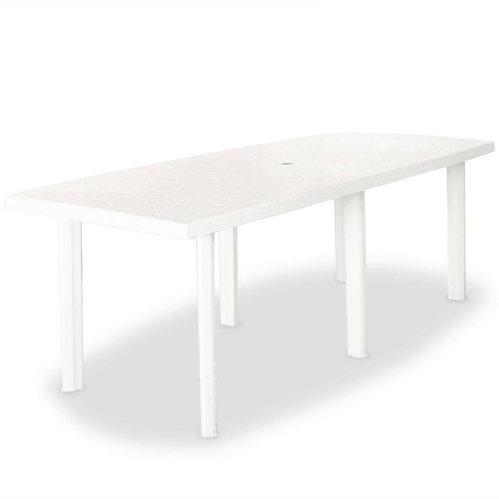 Zahradní stůl - plastový - bílý | 210x96x72 cm
