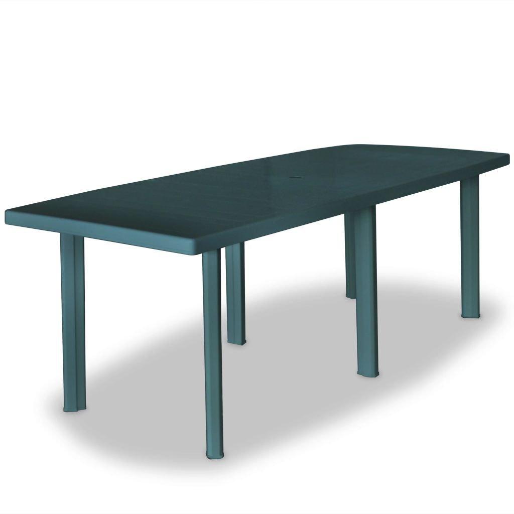 Zahradní stůl - plastový - zelený | 210x96x72 cm