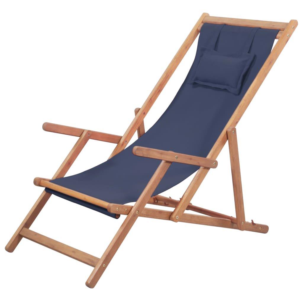 Skládací plážové křeslo - látka a dřevěný rám | modré