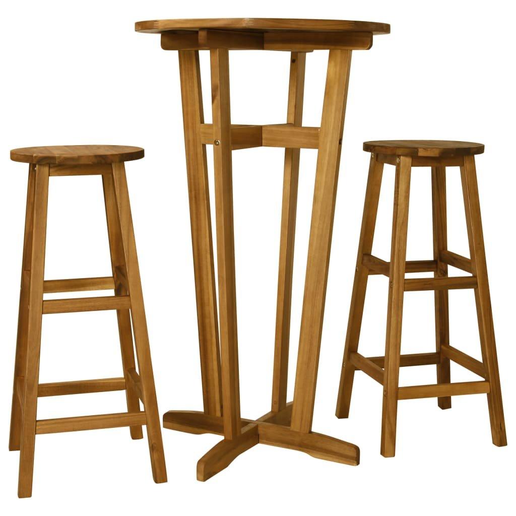 Barový set Addyston - 3dílný | masivní akáciové dřevo