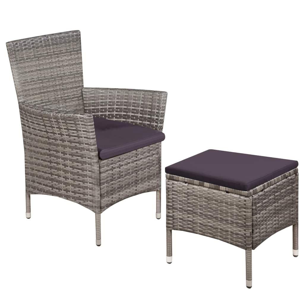 Zahradní židle a stolička s poduškami - polyratan   šedé