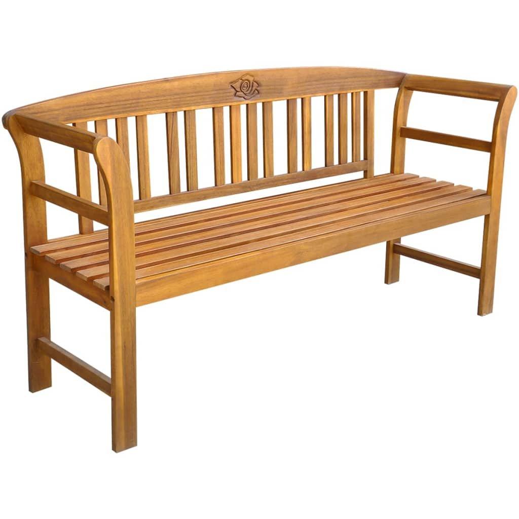 Zahradní lavice - masivní akáciové dřevo | 157 cm