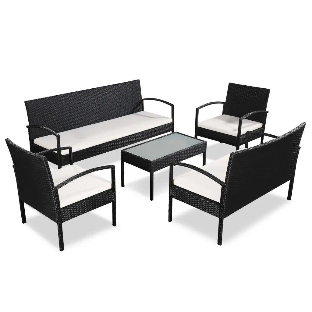 Zahradní sedací souprava - 9 kusů - polyratan | černá a krémově bílá