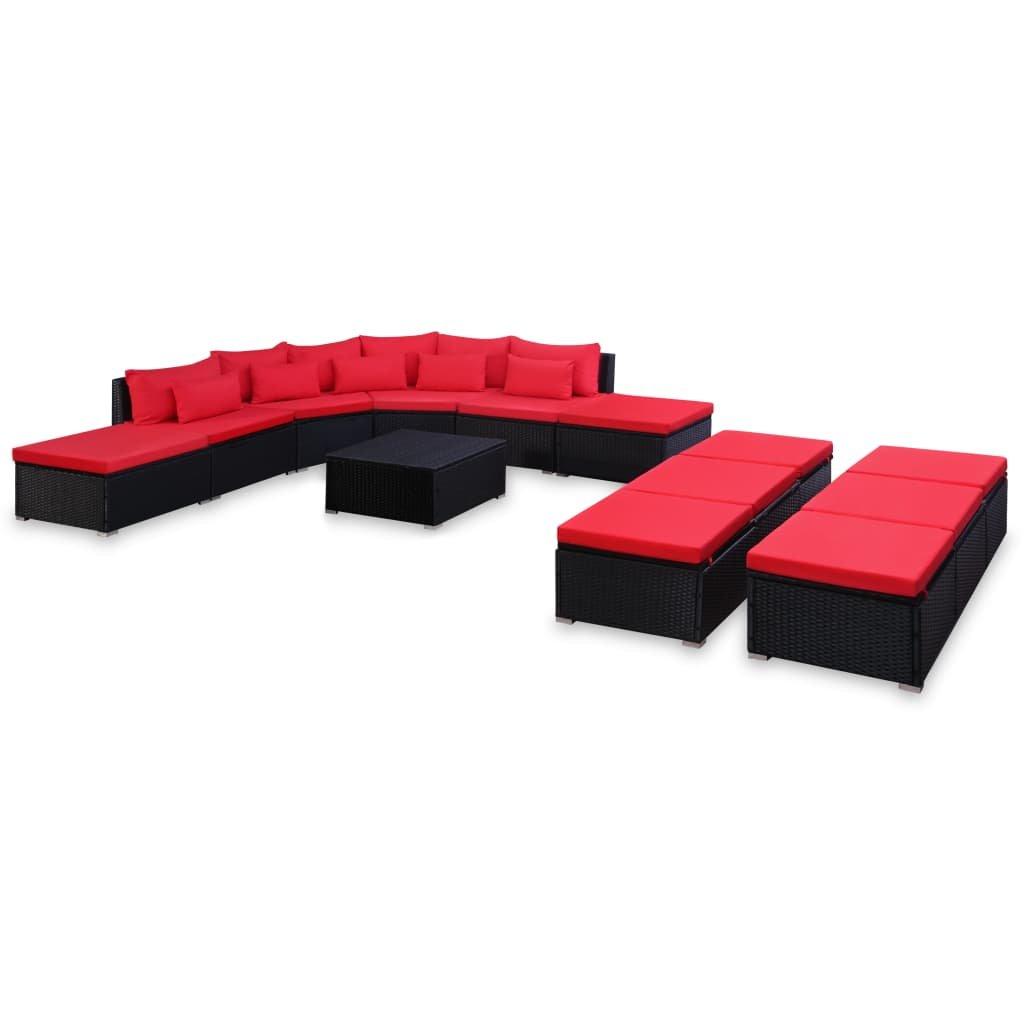 Zahradní sedací souprava Socorro + podušky - polyratan | červeno-černá