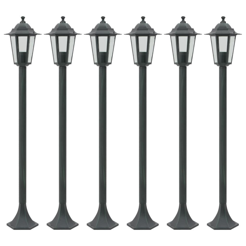 Zahradní sloupové lampy 6 ks - hliníkové - zelené | 110 cm