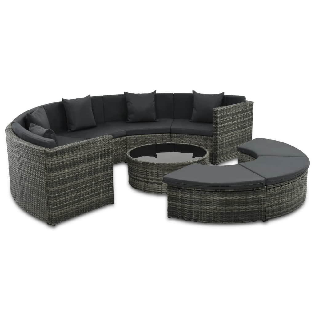 Zahradní sedací souprava - 25 kusů   z šedého polyratanu
