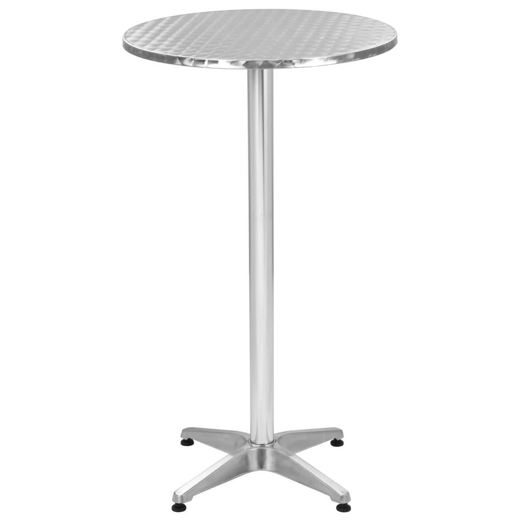 Skládací zahradní stůl - hliník - stříbrný | Ø 60 cm