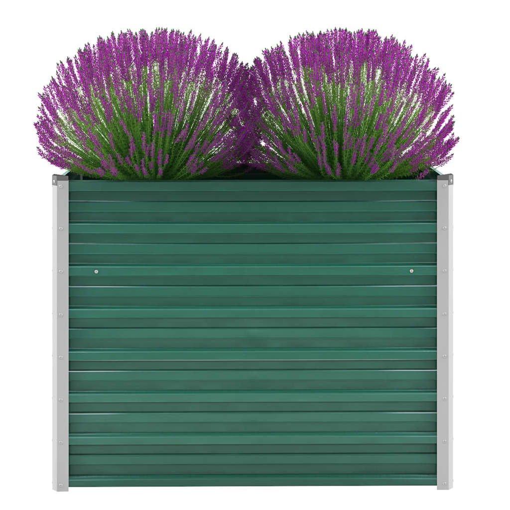Zahradní květináč z pozinkované oceli - zelený | 100x40x77 cm
