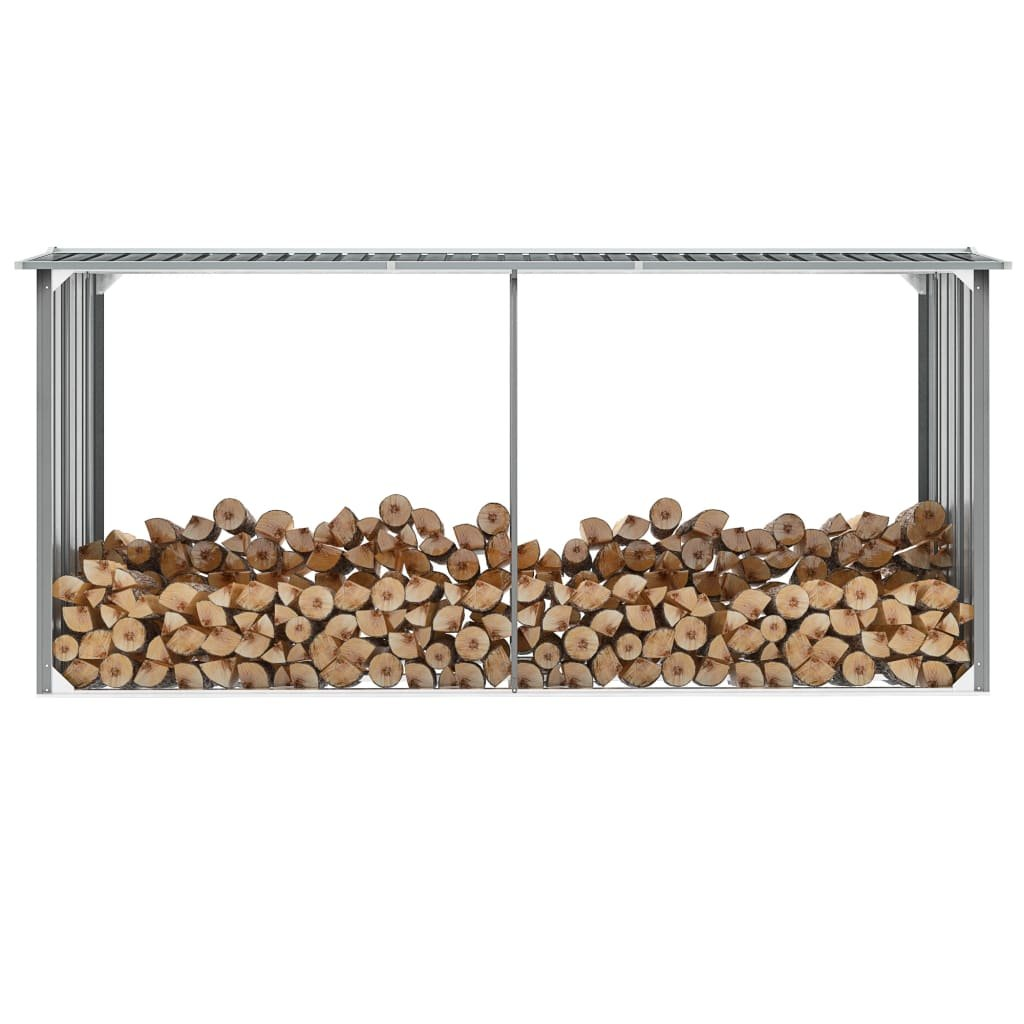 Zahradní kůlna na dříví z pozinkové oceli - šedá | 330x92x153 cm