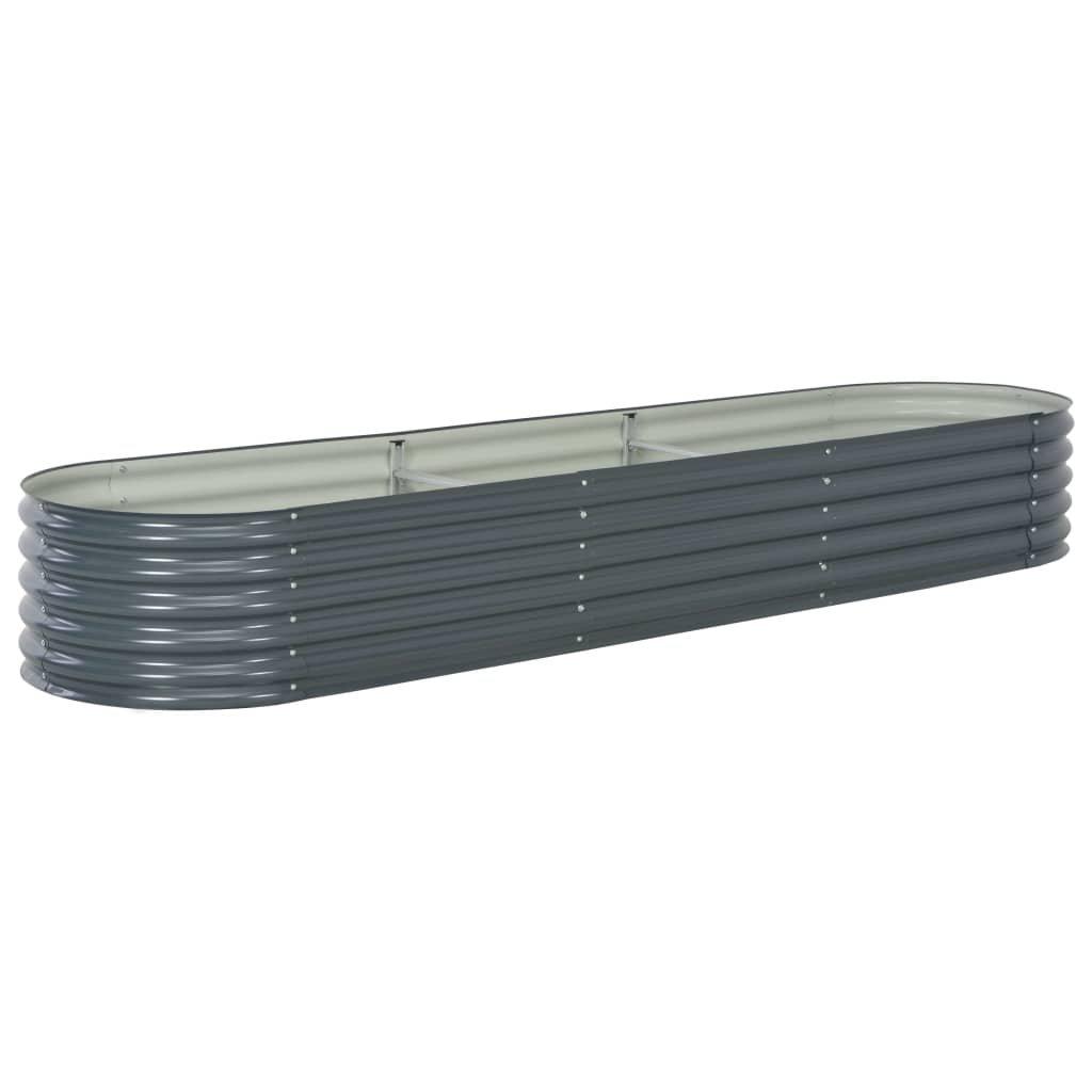 Zahradní truhlík - šedý - pozinkovaná ocel   320x80x44 cm