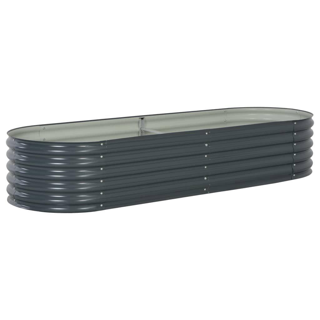 Zahradní truhlík - šedý - pozinkovaná ocel   240x80x44 cm