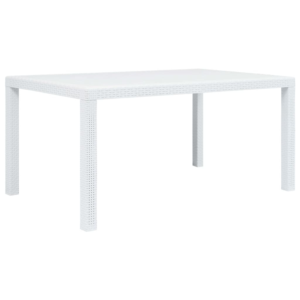 Zahradní stůl - bílý - plastový ratanový vzhled   150x90x72 cm