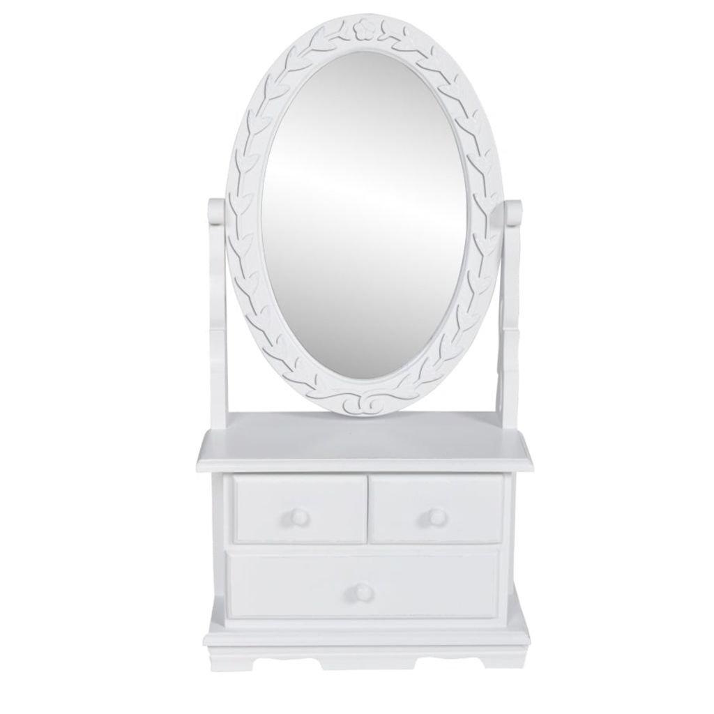 Toaletní stolek s oválným sklopným zrcadlem | MDF