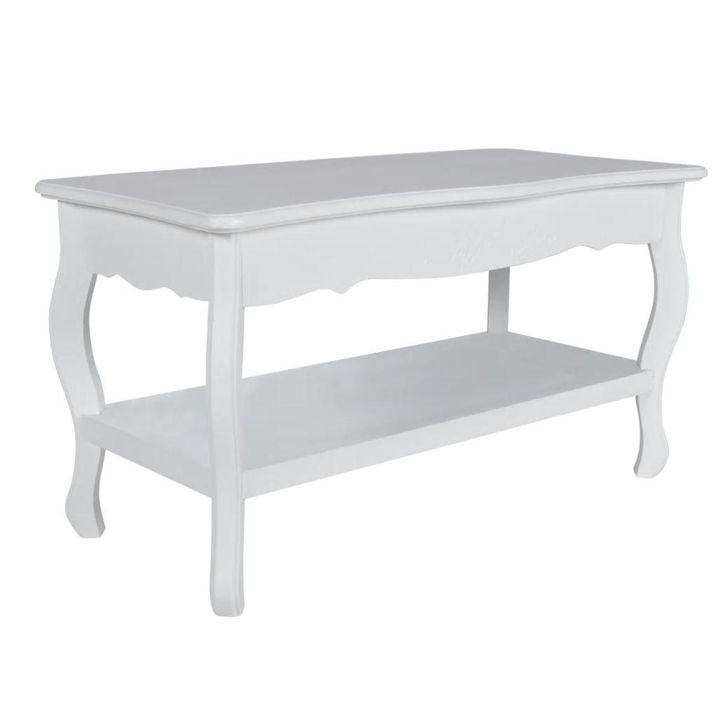 Antik konferenční stolek s poličkou   bílý