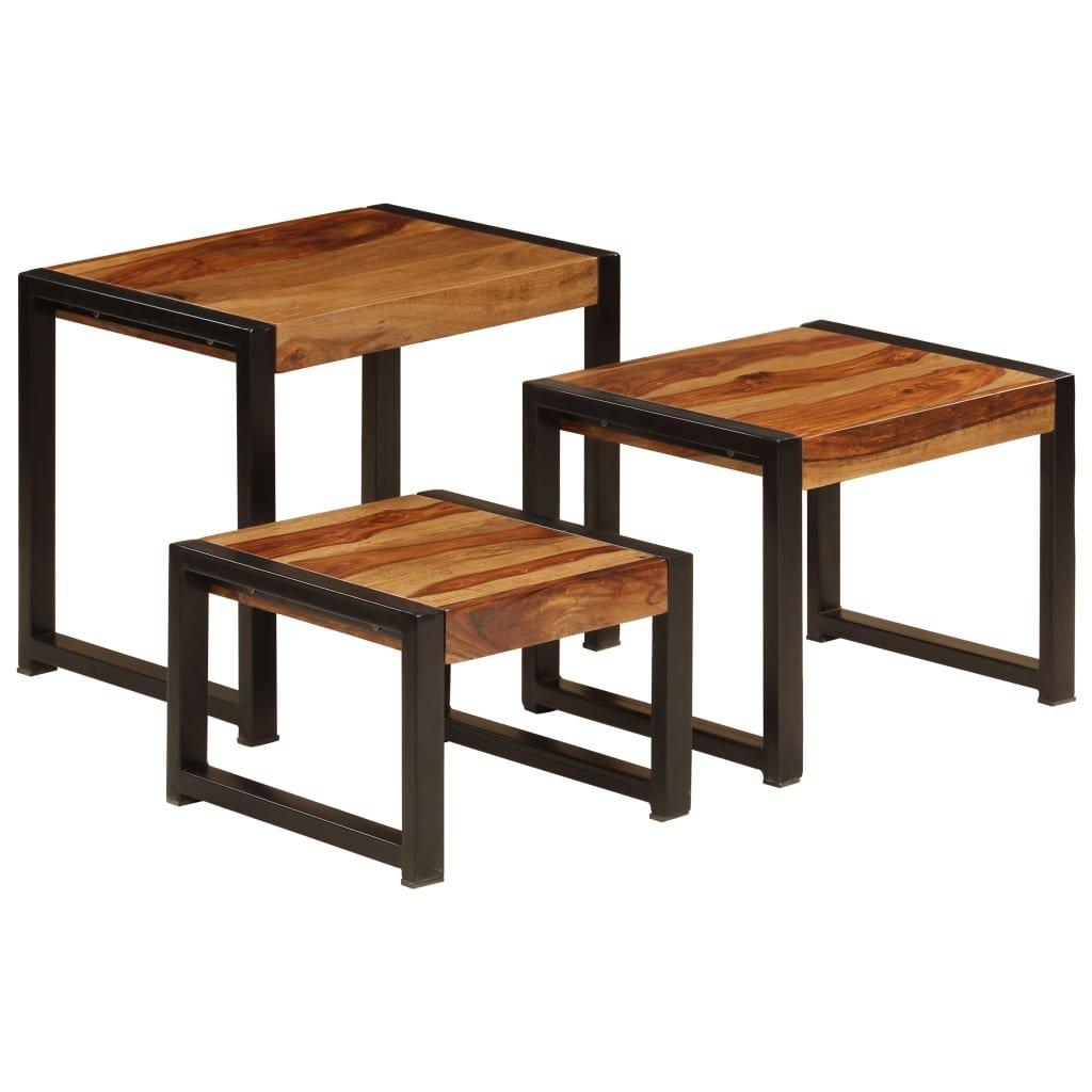 Hnízdové stolky - 3 ks - masivní dřevo