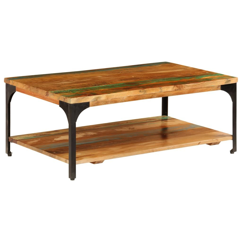 Konferenční stolek s policí - recyklovaný masiv | 100x60x35 cm