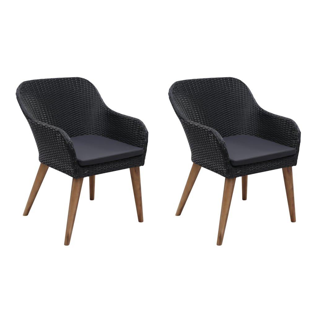 Zahradní židle Marisaw s poduškami - 2 ks - polyratan | černé