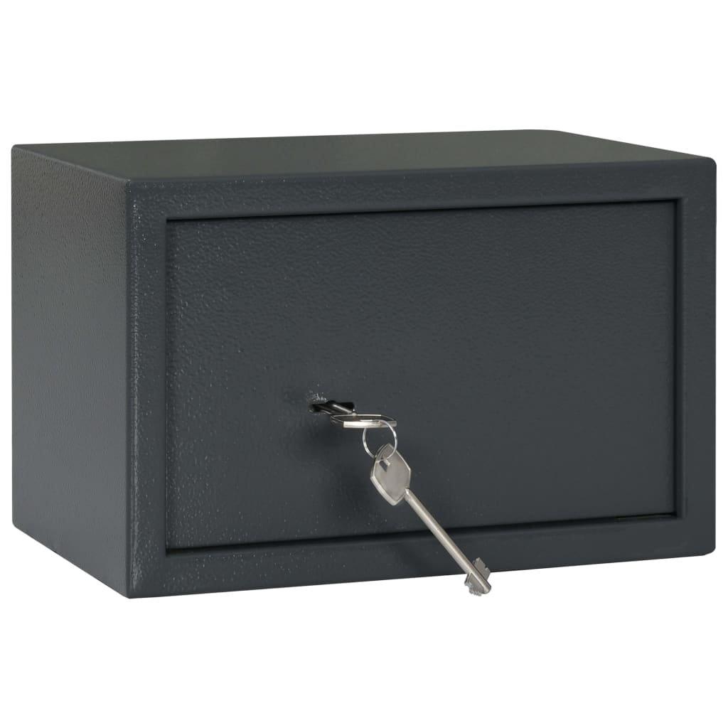 Mechanický trezor - tmavě šedý - ocel | 31x20x20 cm