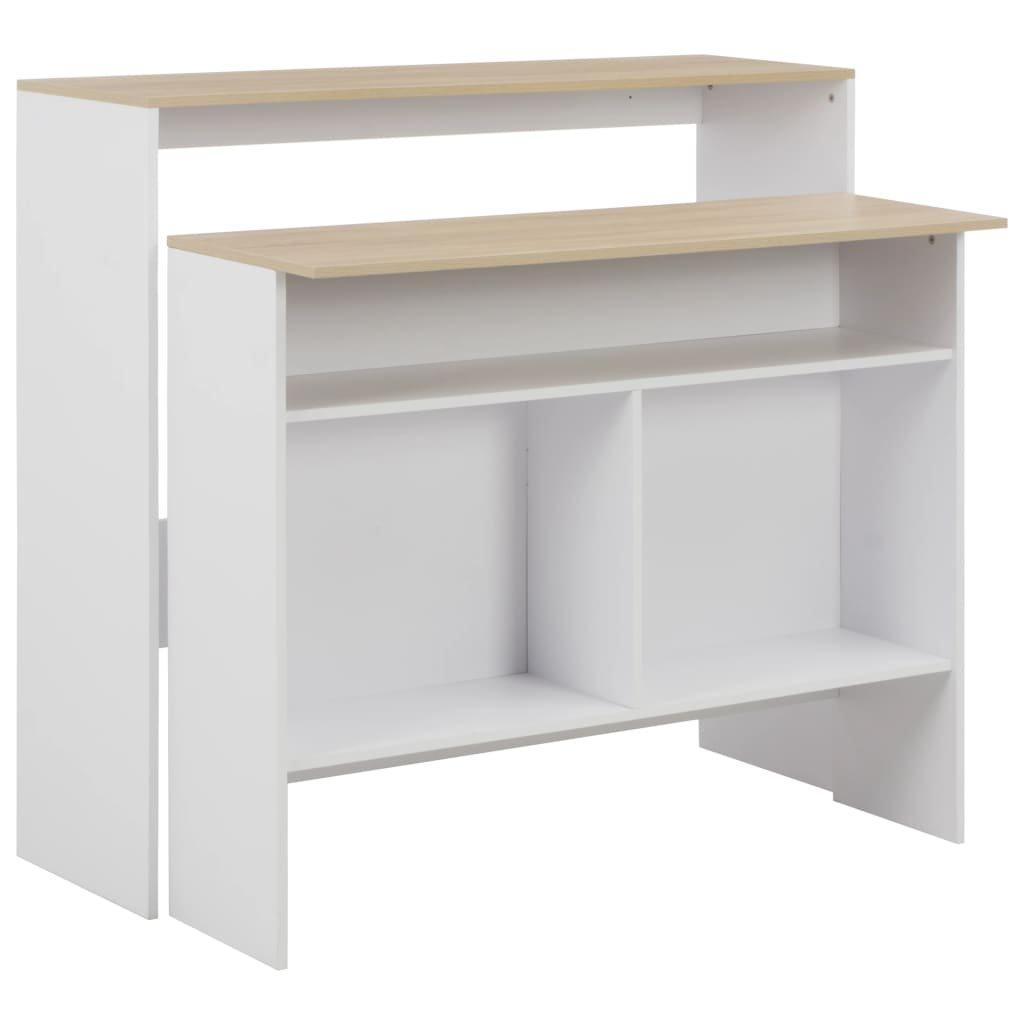 Barový stůl Jackson se 2 stolními deskami - bílý   130x40x120 cm