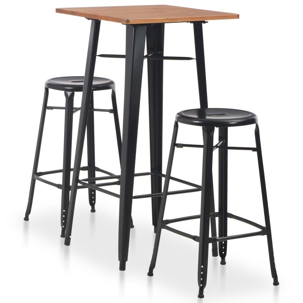 Ocelový barový jídelní set - 3dílný | černý