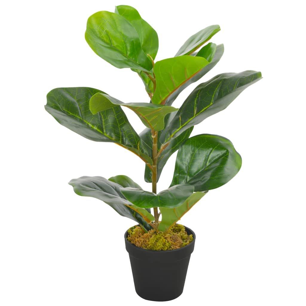 Umělá rostlina fíkus lyrový s květináčem - 45 cm | zelená