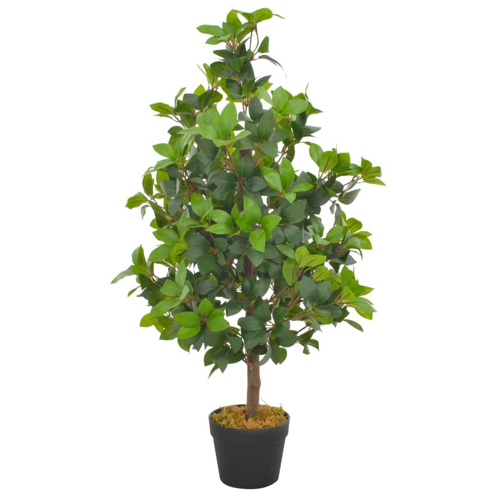 Umělá rostlina vavřín vznešený s květináčem - 90 cm | zelená