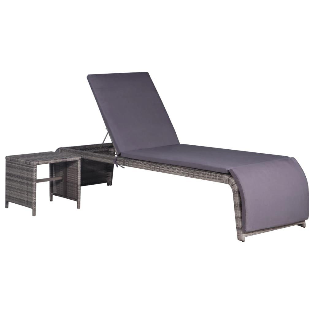Zahradní lehátko se stolečkem - polyratan | šedé