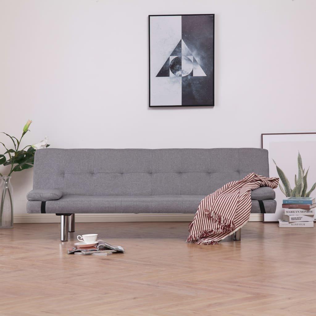 Rozkládací pohovka se 2 polštáři - světle šedá | polyester