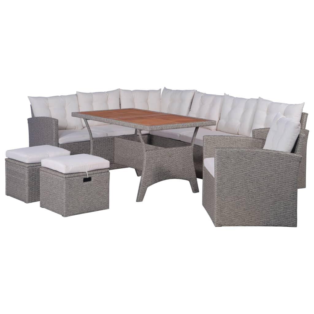 6-dílná zahradní sedací souprava Rixobe s poduškami - polyratan | šedá