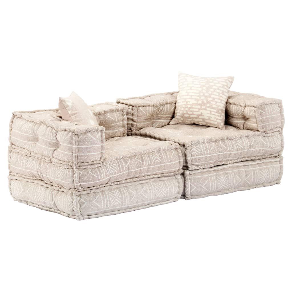 2-místná rozkládací pohovka - textil | béžová