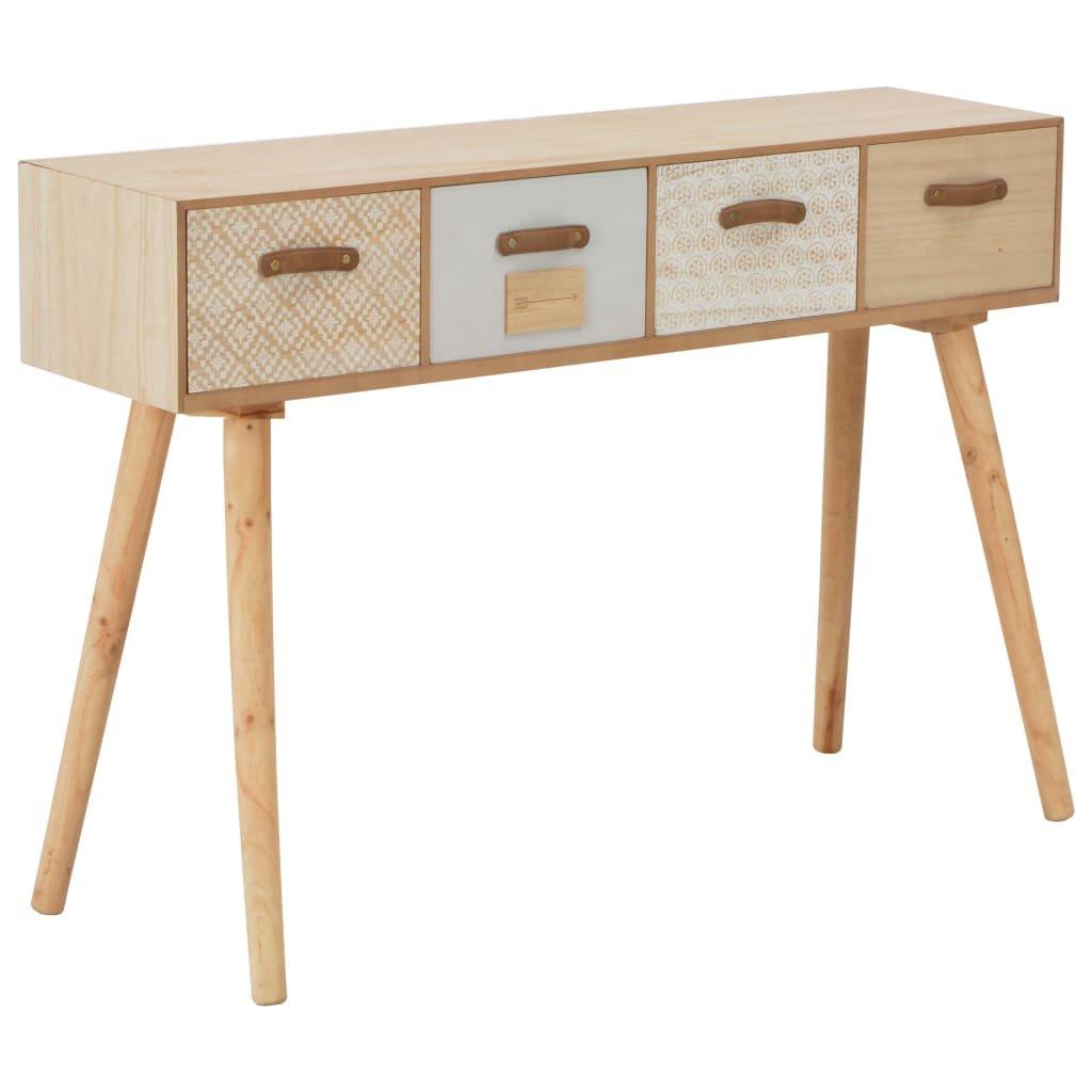 Konzolový stolek se 4 zásuvkami - masivní borovice   110x30x73 cm
