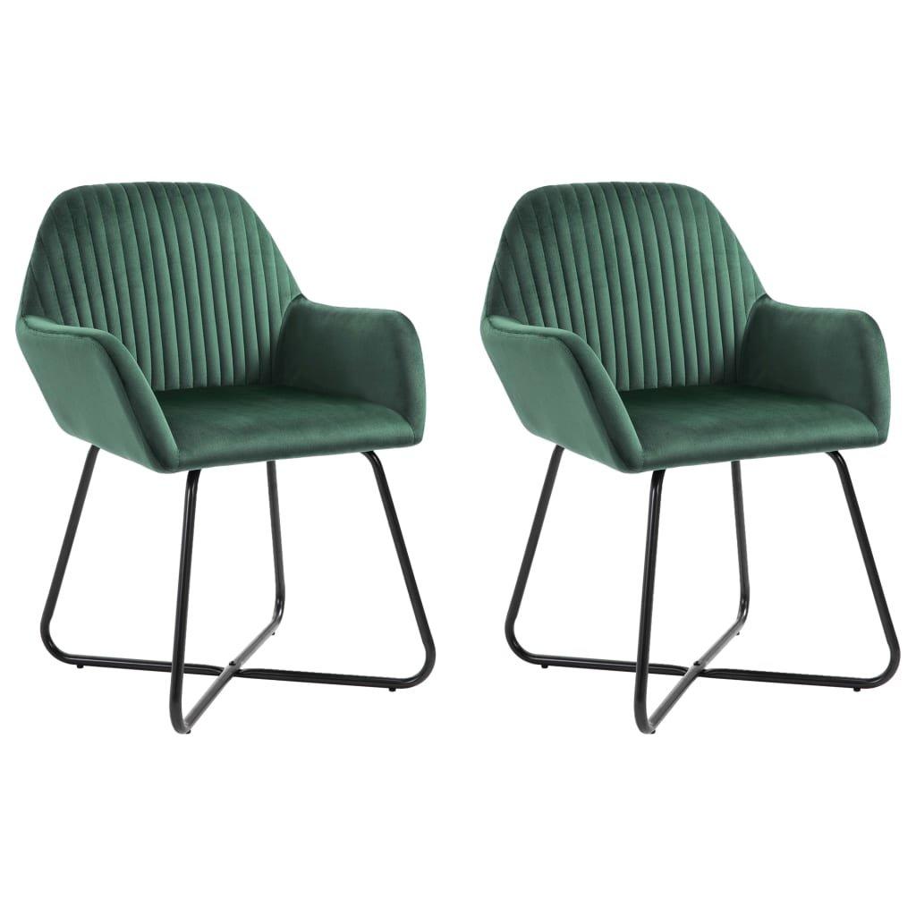 Jídelní židle Gruver - 2 ks - samet | zelené